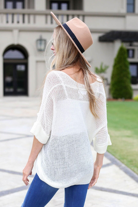 Ivory - Open Knit Oversized Top Back View