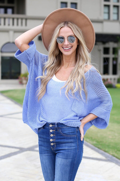 Blue - Open Knit Oversized Top Front View