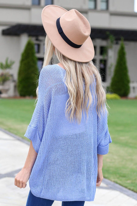 Blue - Open Knit Oversized Top Back View