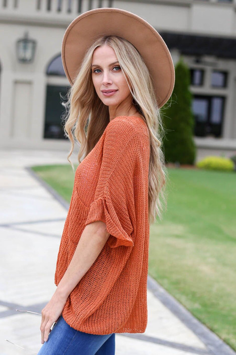 Rust - Open Knit Oversized Top Side View