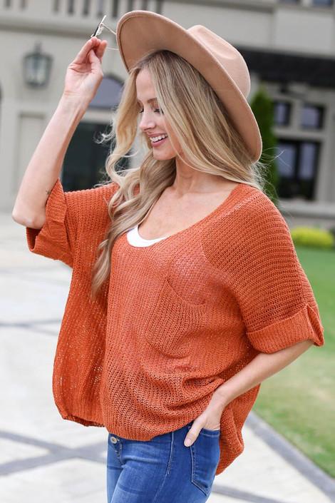 Rust - Open Knit Oversized Top Front Angle View