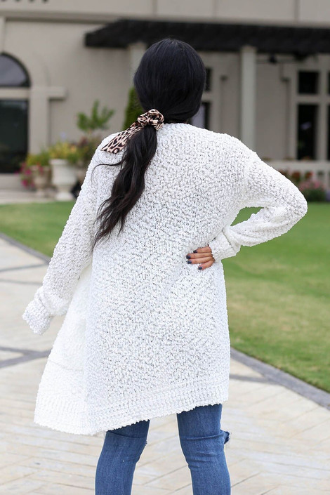 Ivory - Popcorn Knit Cardigan Back View