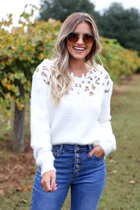 Ivory - Crochet Eyelash Knit Sweater Front View