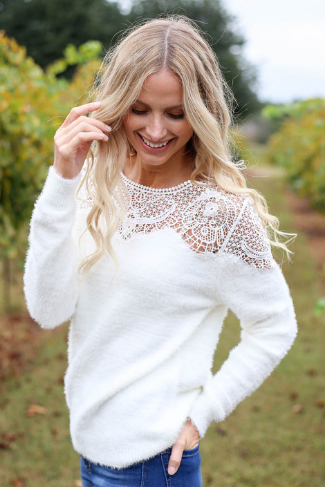 White - Crochet Eyelash Knit Sweater