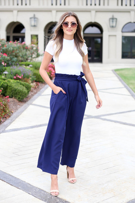 Navy - Paperbag Waist Pants Front View