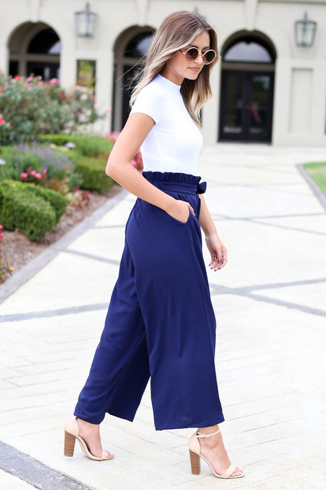 Navy - Paperbag Waist Pants Side View