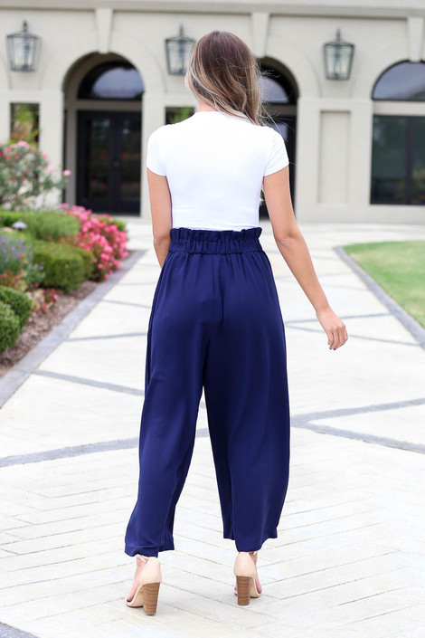 Navy - Paperbag Waist Pants Back View