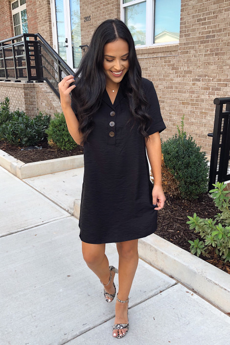 Black - Button Up Dress Full View