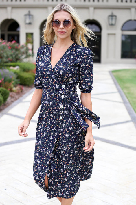 Navy - Floral Button Front Midi Dress Front Detail View