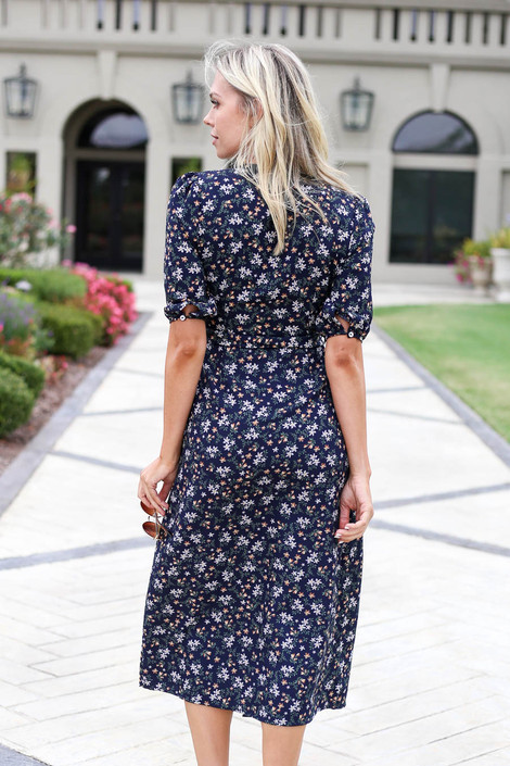 Navy Floral Button Front Midi Dress Back View
