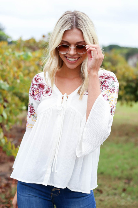 Ivory - Embroidered Babydoll Blouse