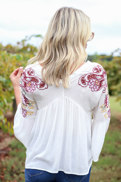 Ivory - Embroidered Babydoll Blouse Back View