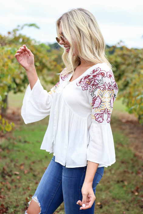 Ivory - Embroidered Babydoll Blouse Side View