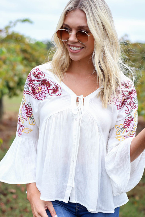 Ivory - Embroidered Babydoll Blouse Detail View