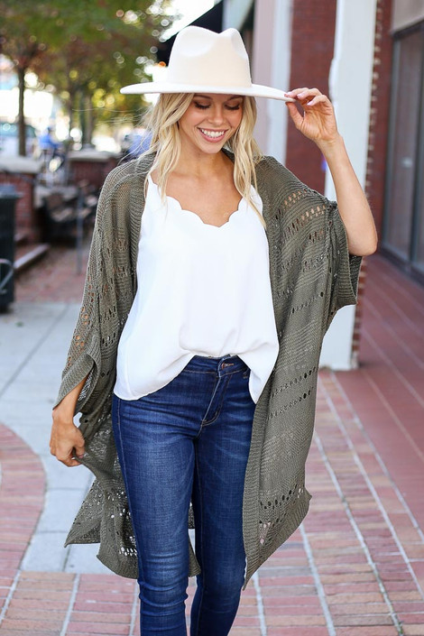 Olive - Open Knit Lightweight Cardigan Front View