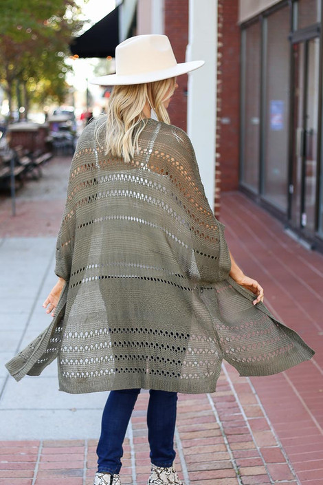 Olive - Open Knit Lightweight Cardigan Back View