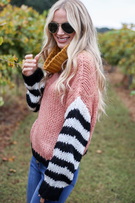 Blush - Oversized Color Block Sweater Side View