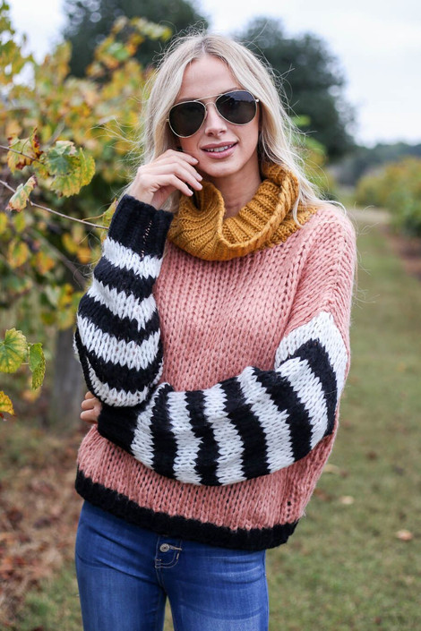 Blush - Oversized Color Block Sweater Front View
