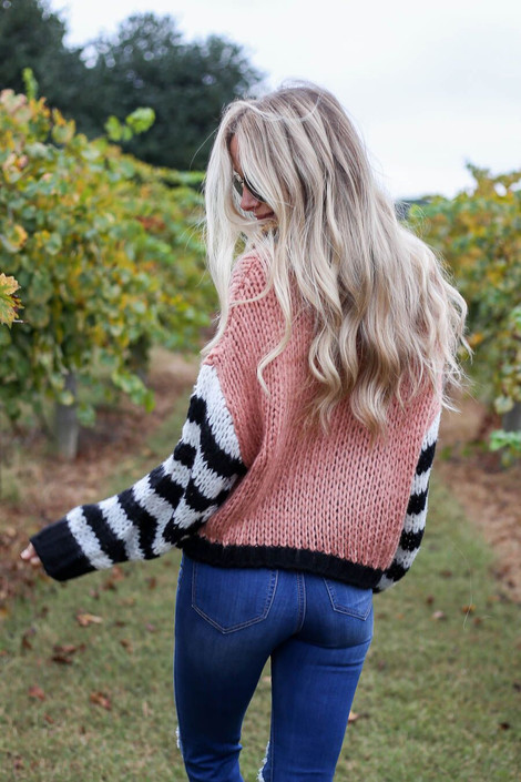 Blush - Oversized Color Block Sweater Back View