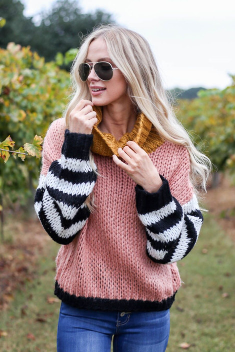 Oversized Color Block Sweater Front View