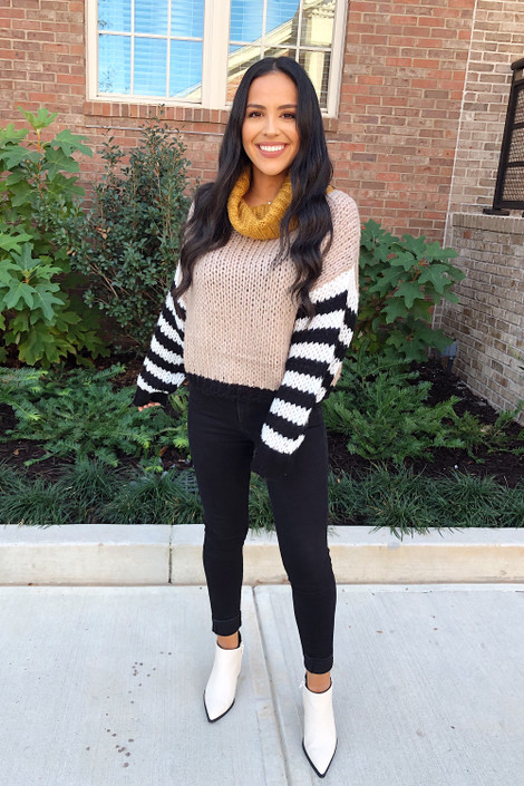 Mocha - Oversized Color Block Sweater  Full View