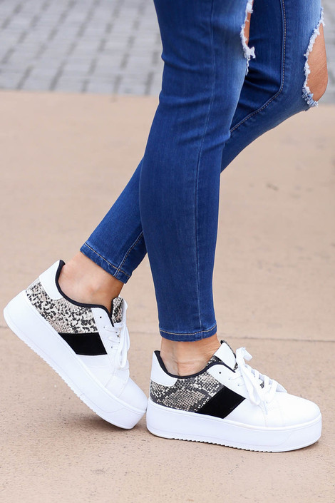 Snake - and White Chunky Platform Sneakers