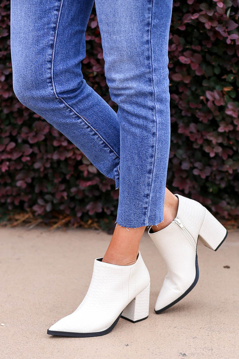 White - Pointed Toe Snakeskin Ankle Booties