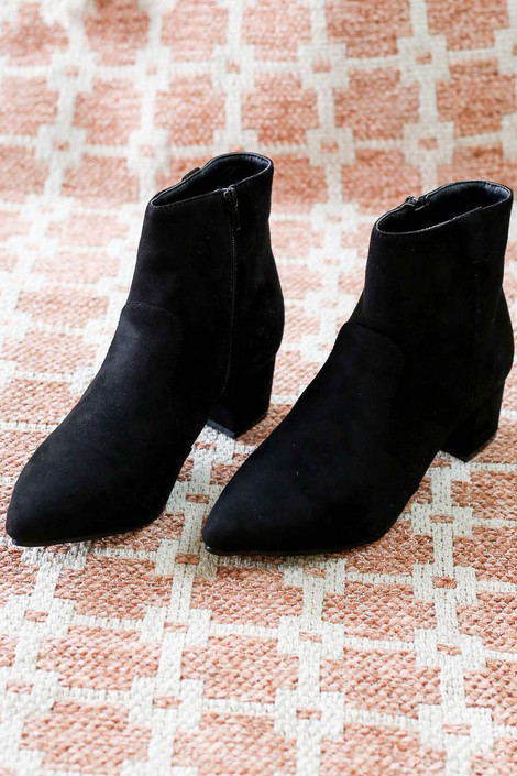 Black - Faux Suede Pointed Toe Ankle Booties from Dress Up Flat Lay