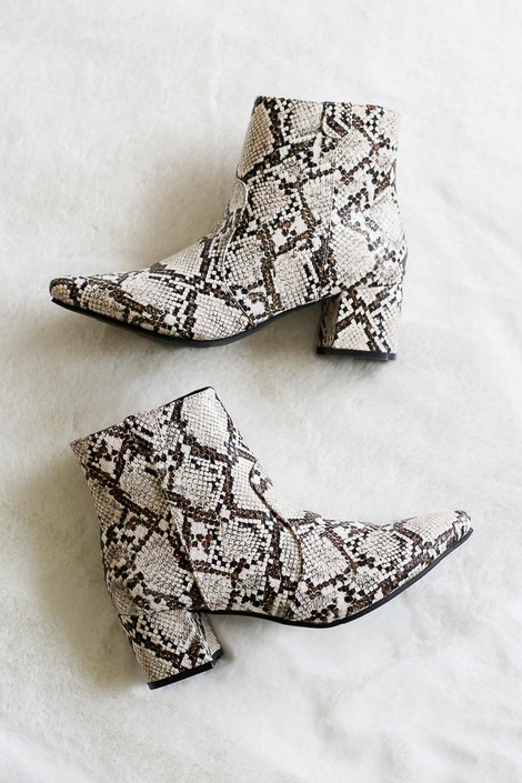 Snakeskin Pointed Toe Ankle Booties from Dress Up - Flat Lay
