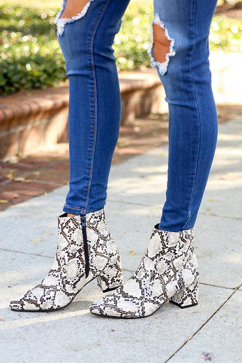 Model Wearing Snakeskin Pointed Toe Ankle Booties from Dress Up