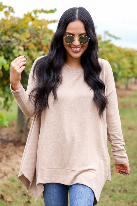 Taupe - Brushed Knit Asymmetrical Tunic