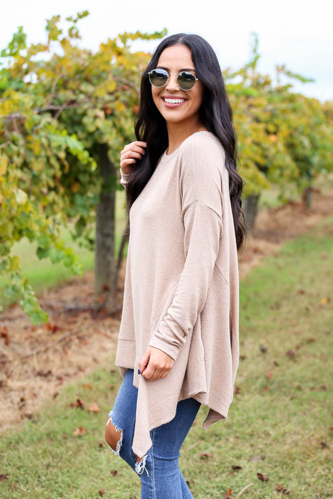 Taupe - Brushed Knit Asymmetrical Tunic Side View
