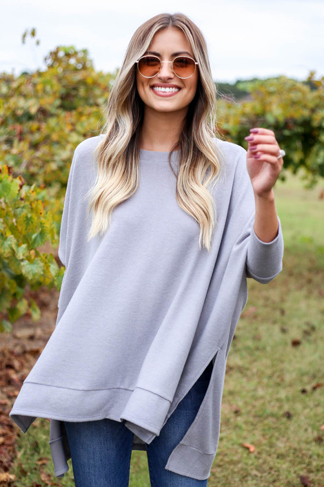 Heather Grey - Fleece Side Slit Oversized Top