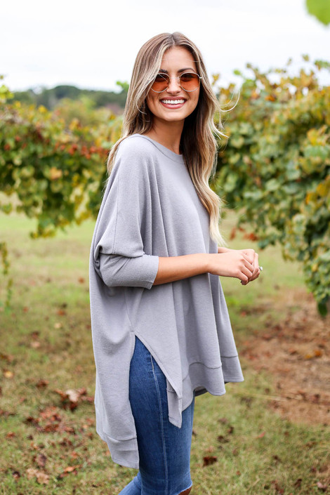 Heather Grey - Fleece Side Slit Oversized Top Side View