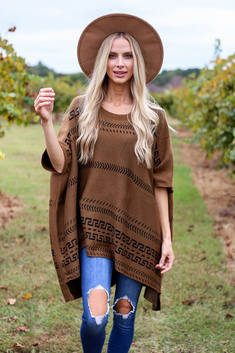 Camel - Aztec Print Oversized Poncho Front View