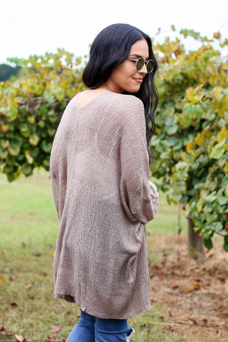 Taupe - Lightweight Knit Baggy Cardigan Sweater Back View