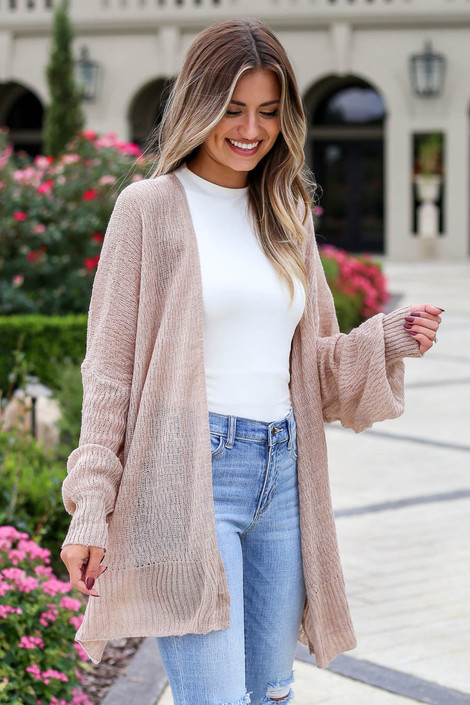 Mauve - Lightweight Knit Baggy Cardigan Side View