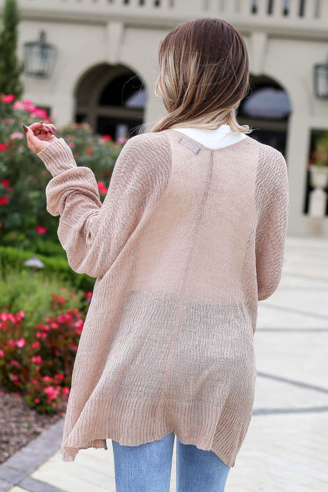 Dress Up Model wearing Mauve Lightweight Knit Baggy Cardigan Back View