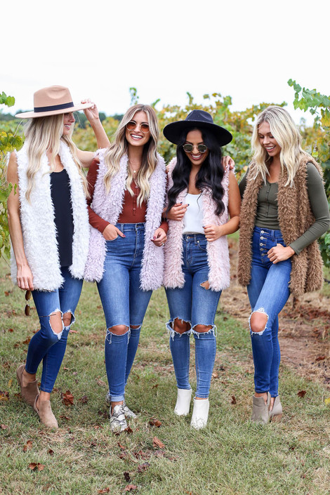 Mocha - Blush, Purple, and Ivory Faux Fur Vests Group Shot