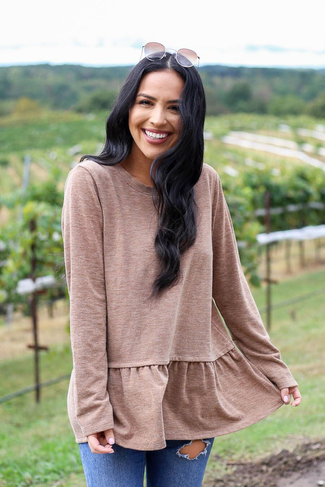 Taupe - Heather Knit Ruffle Hem Tee from Dress Up