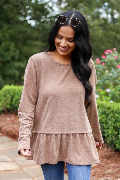 Dress Up Model Wearing Taupe Heather Knit Ruffle Hem Tee - Front View