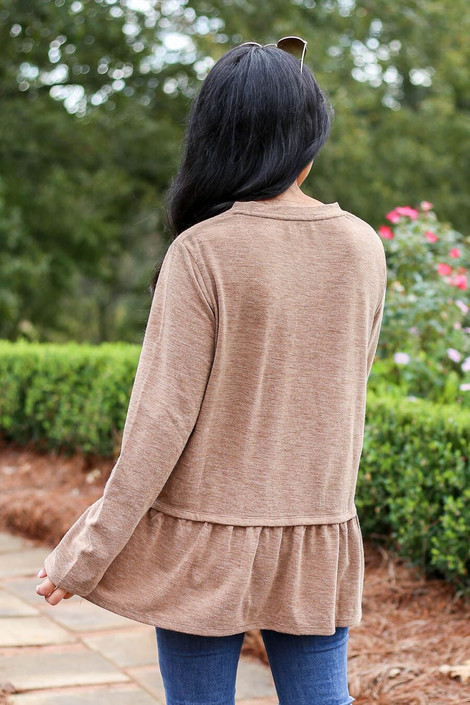 Model Wearing Taupe Heather Knit Ruffle Hem Tee from Dress Up - Back View