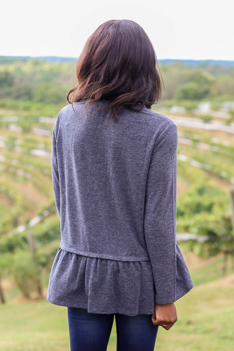 Model Wearing Charcoal Heather Knit Ruffle Hem Tee from Dress Up - Back View