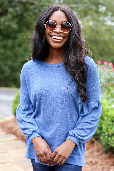 Blue - Brushed Knit Top