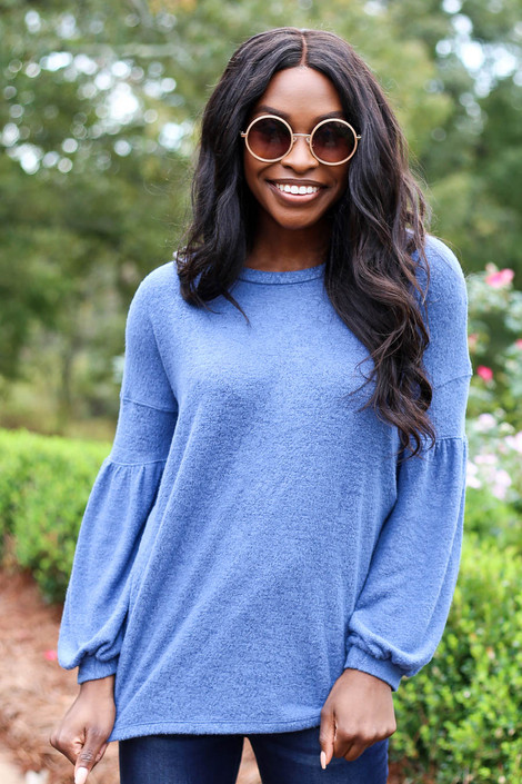 Blue - Brushed Knit Top Front View