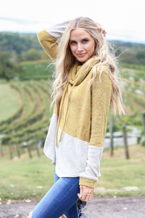 Model wearing Lime Cowl Neck French Terry Pullover from Dress Up - Side View