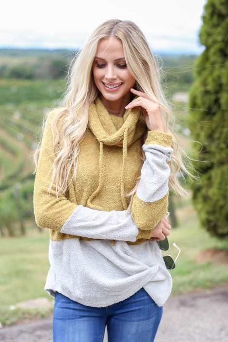 Bailee Cowl Neck French Terry Pullover