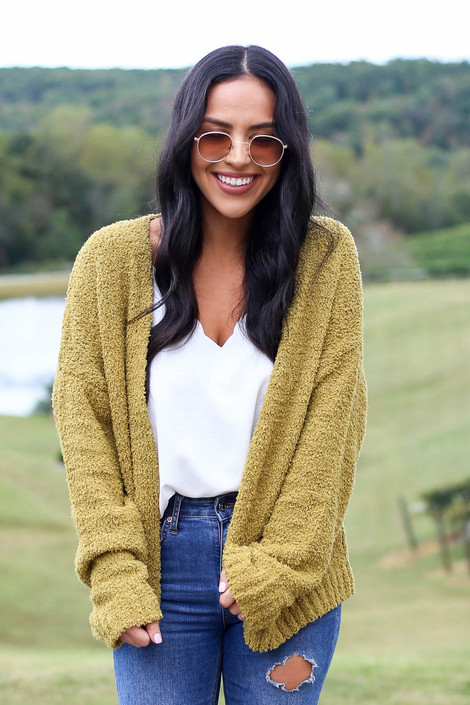 Dress Up Model wearing Lime Plush Knit Cropped Cardigan