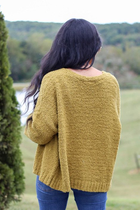 Lime - Plush Knit Cropped Cardigan from Dress Up Back View
