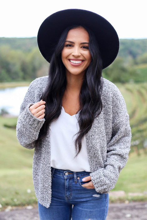 Heather Grey - Plush Knit Cropped Cardigan from Dress Up